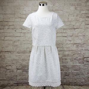 Maison Jules L Midi Dress White Gray
